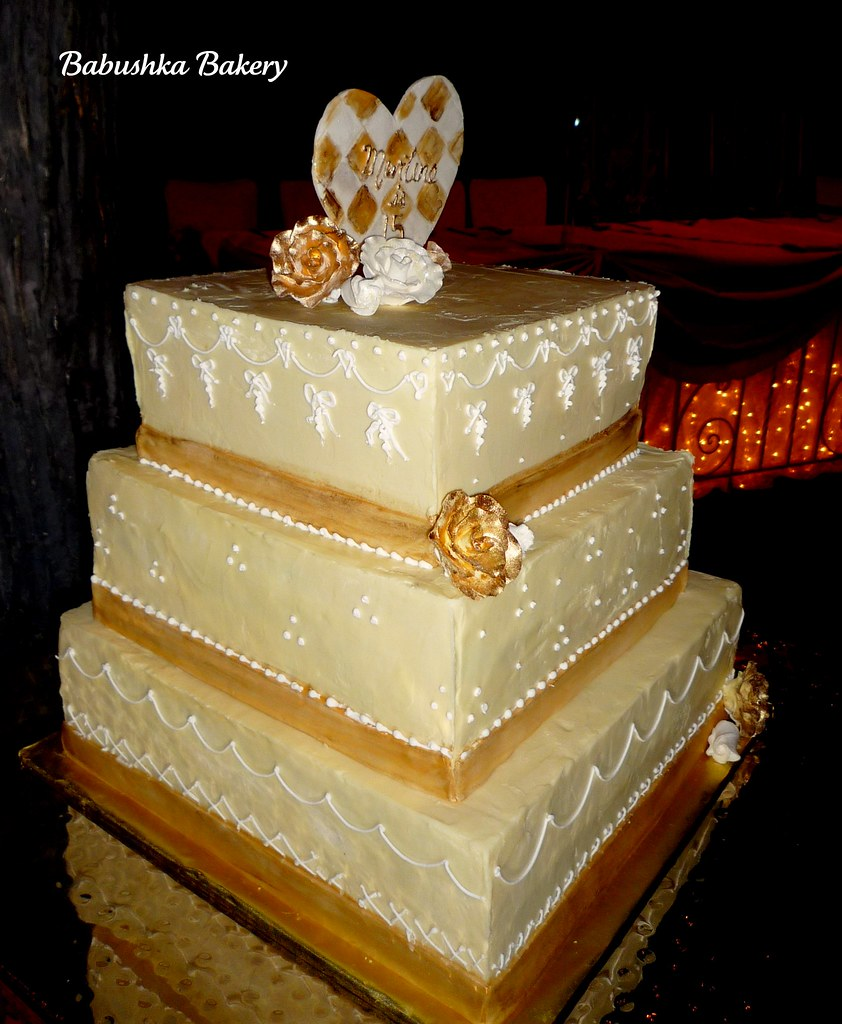 Golden French style Quinceanera Cake