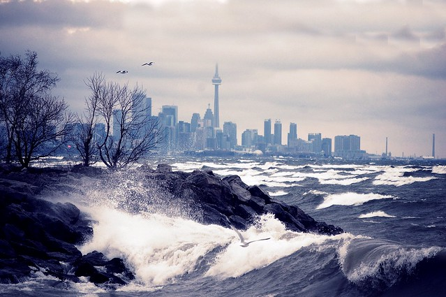 Waves and Waves arriving to shore of Toronto