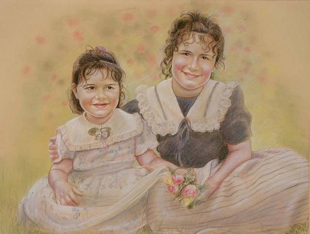 Le sorelline sul prato - disegno a pastello