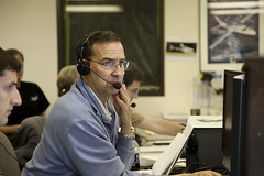 Brian Binnie stands by in Mission Control, Mojave Air and Spaceport. Photo by Mark Greenberg