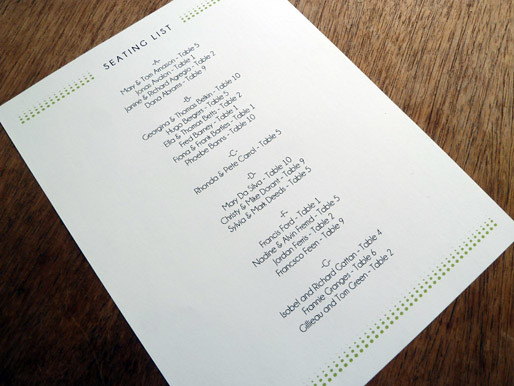 Printable Wedding Seating List Morning Glory