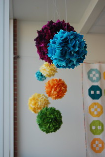 Hanging fabric balls