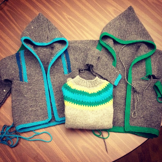 Three (almost ) finished little boy sweaters. I can't wait to see them on!  #knit #knitting #drivethru #tomten #ravellenicgames