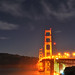 Golden Gate Bridge at Night above Marshall Beach, San Francisco