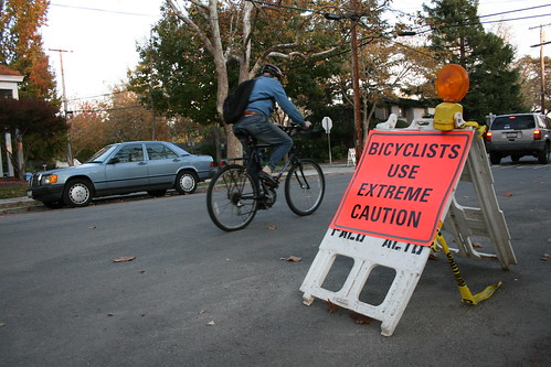 Bicyclists use extreme caution