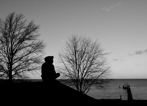 trees house rooftop silhouette bay horizon maryland 1855mm pasadena nikkor boathouse chesapeake