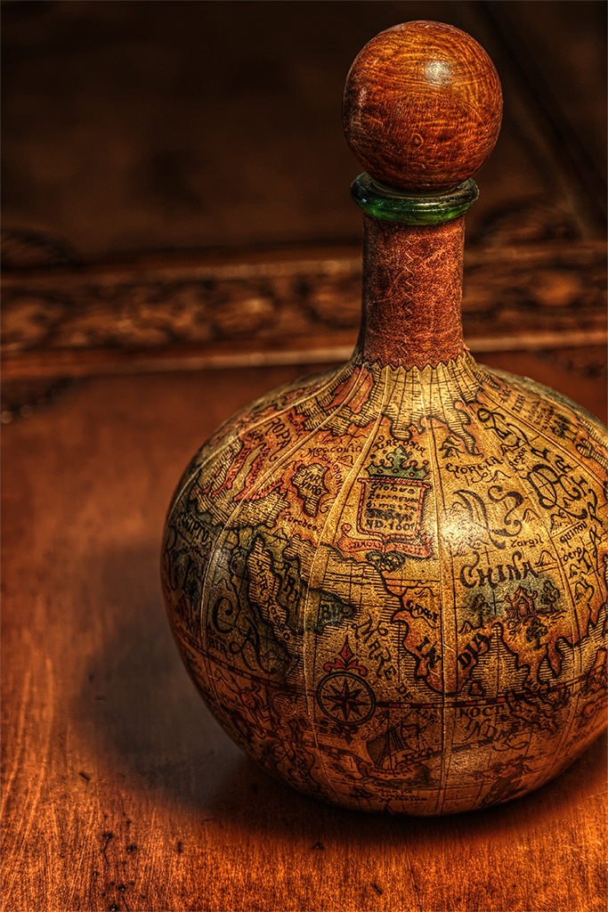 Antique Bottle Closeup in HDR