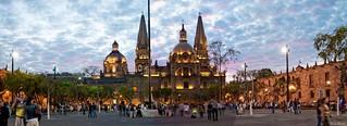 Plaza Liberacion, Catedral ,Panoramica,Atardecer,Guadalajara Jalisco Mexico