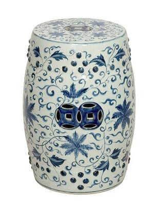 Emissary blue and white octagonal garden stool