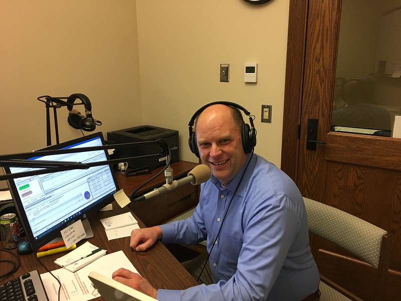 Rep. Drew MacEwen in the HRC broadcast studio before his telephone town hall. Feb. 16, 2017.