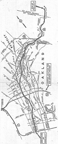 Grove-Shafter Freeway route alternatives (Oakland, 1957)