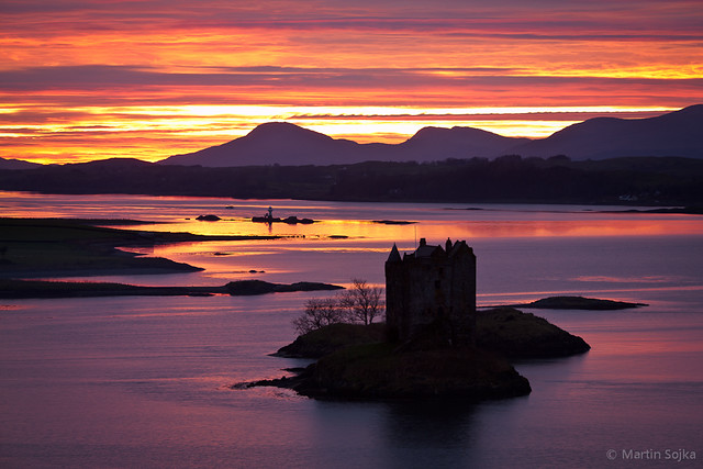 Sunset over Castle Stalker ~ Loch Laich, Scotland