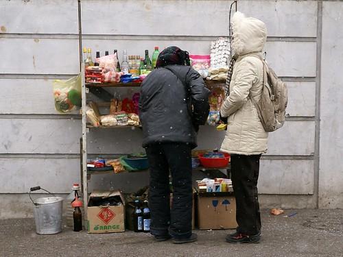 Street stall in Jongo-dong, Pyongyang
