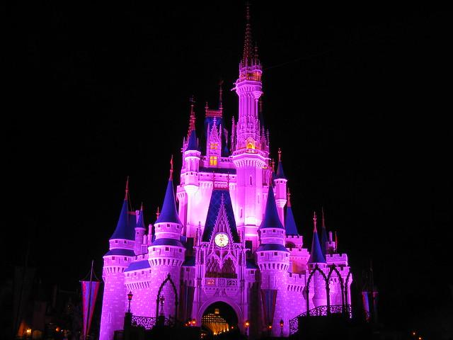 Disney world castle at night