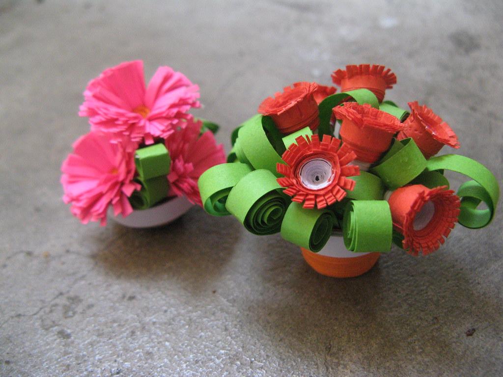 paper quilling flower pot