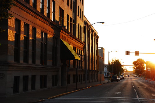 street morning sunlight sunrise buildings nikon ymca evansville in d80
