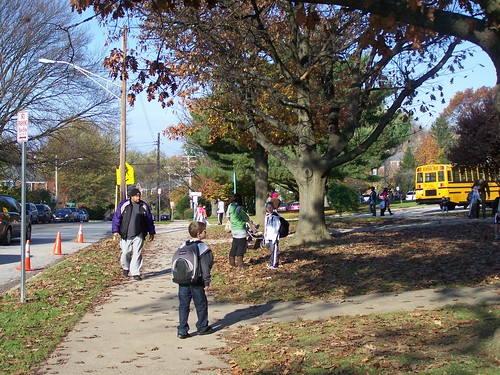 Walking to school, Dumbarton Street, Rodgers Forge Elementary School