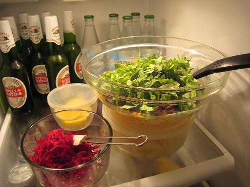raw beets, shredded, green salad, stella ar… IMG_1902