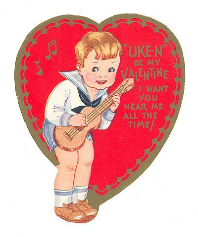 Vintage Valentines on Vintage Ukulele Boy Valentine Vintage 1930s Valentine Card From My