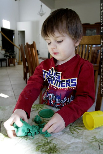sequoia at his favovrite play doh station