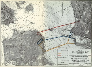 Map of San Francisco Bay Showing Recommended Location for Transbay Bridge with Two Alternate Locations to Accompany Report of Board of Engineers Transbay Bridge (1927)