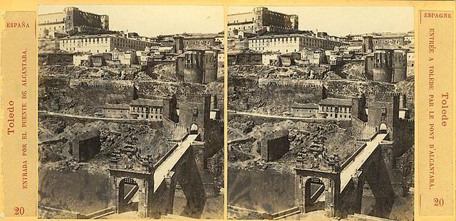 Vista estereoscópica del Puente de Alcántara hacia 1860 por E. Làmy