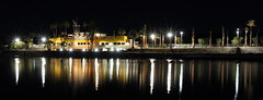 Nighttime panorama of the North Shore Beach & Yacht Club at the Salton Sea. Lit up for the first time in decades.