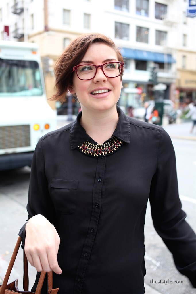 statement necklace, leather bag, asymmetrical bob hairstyle, san francisco street style fashion blog,