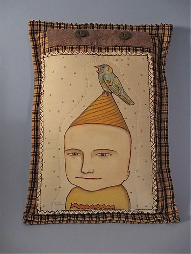 odd boy illustrated pillow