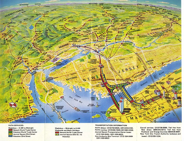 PATH Train map showing the World Trade Center, Lower Manhattan, Jersey City, Staten Island and more! 1979