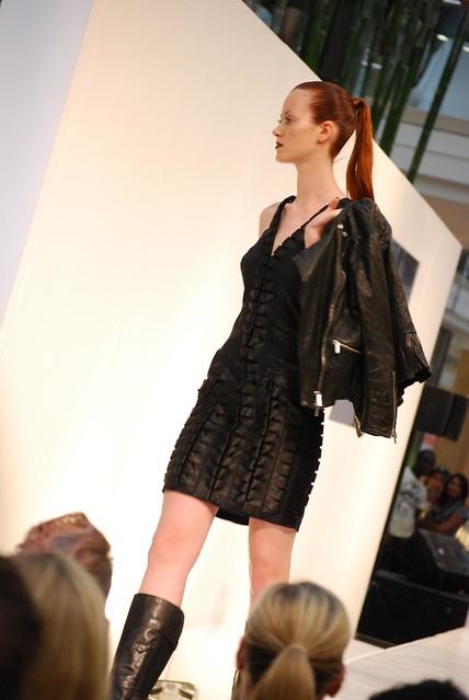 Pleated leather dress - walking - Lisa Ho
