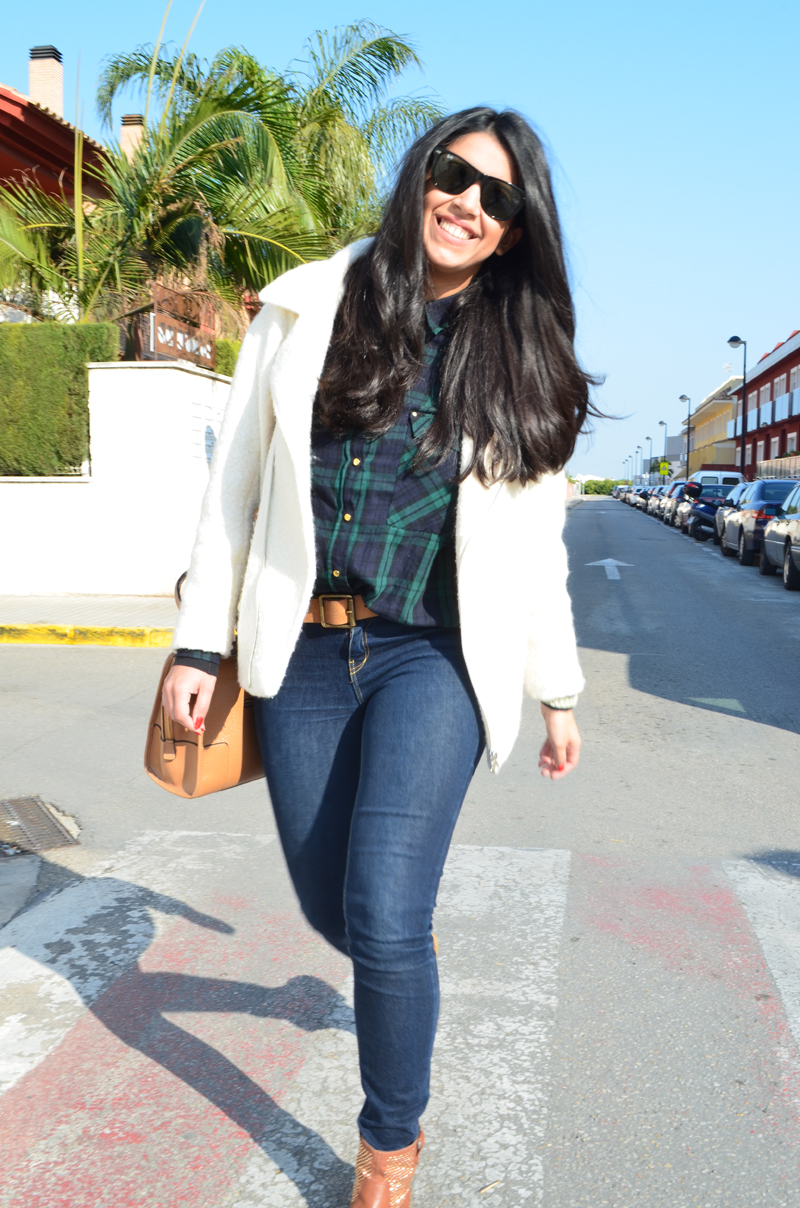 florenciablog chaqueta fieltro inspiration tartan cream jacket casual look bloggers gandia (9)