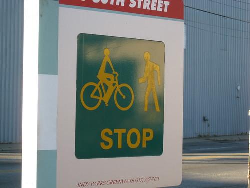Sign on Monon Trail: Stop