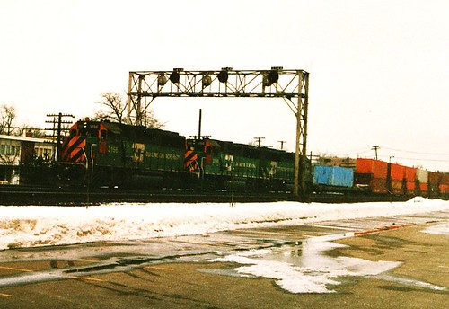 Westbound Burlington Northern intermodal train. La Grange Illinois. January 1987. by Eddie from Chicago