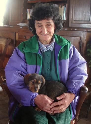 Christiane and her new dog Teckila