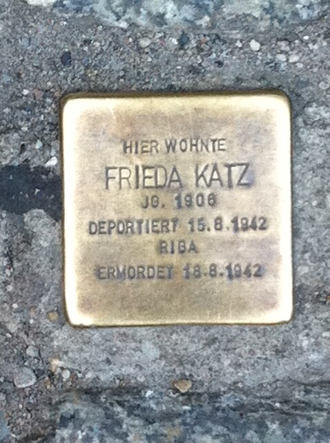 Photo of Frieda Katz brass plaque