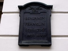 Photo of Benjamin Franklin black plaque