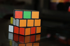 rubik's cube, yellow, red, mechanical puzzle, toy,