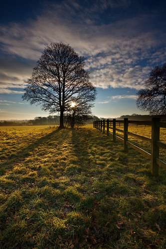 uk sky tree clouds sunrise fence landscape warrington shadows cheshire heys ebass grappenhall iancarroll