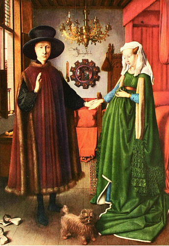"interpretations of van eyck s arnolfini wedding Early netherlandish painter jan van eyck's 1434 masterpiece ""the arnolfini wedding"" is rich with symbolic meaning nearly every detail in this full-length double portrait is imbued with."