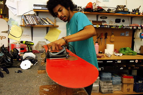 waxing a snowboard