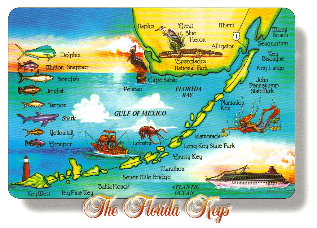 Map Florida Keys.Large Florida Keys Map Postcard Special Trade A Photo On Flickriver