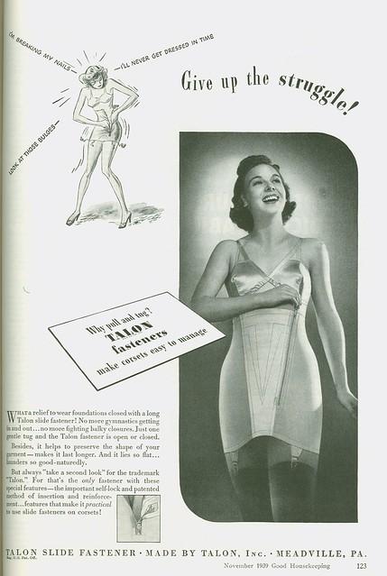 1939 advertisement: corset fasteners