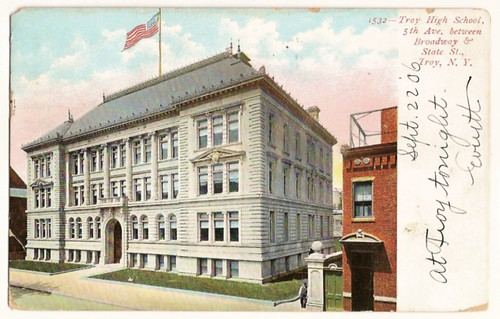 Old Vintage Postcard showing Troy High School 5th ave. and broadway, Troy, New York, 1906