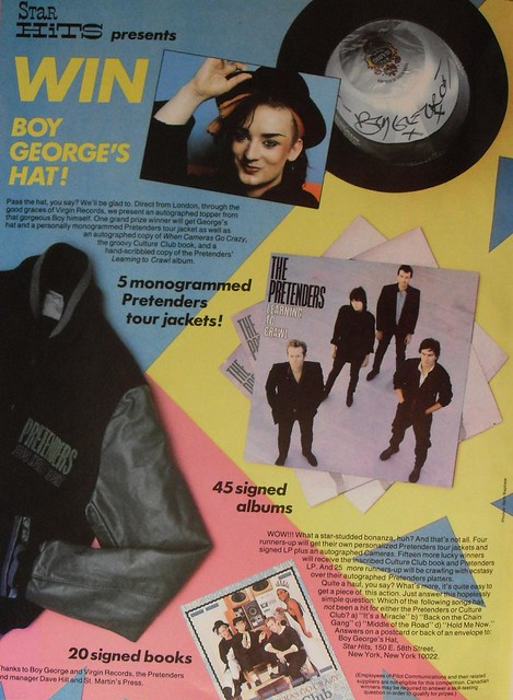 1984 Star Hits Magazine Contest Boy George Hat Culture Club Book PRETENDERS Album