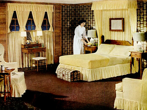 Early 50s bedrooms 1950 55 mid century living for Retro style bedroom furniture