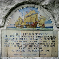 Photo of Hugh Willoughby, Stephen Borough, William Borough, and Martin Frobisher white plaque