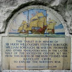 Photo of Hugh Willoughby, Stephen Borough, William Borough, and Martin Frobisher white plaque