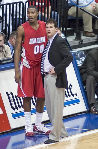 Coach Steve Alford with A.J. Hardeman