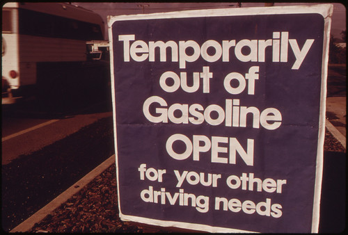 Out of Gasoline Signs Were Increasingly Evident in Oregon During the Month of October, 1973. Stations Such as This One at Lincoln City Along the Coast Closed Earlier and Stayed Closed Longer, Including Weekends 10/1973